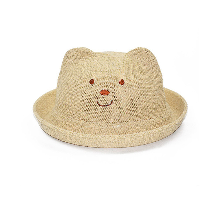 Korean Version Baby Cat Ears Hat , Kids Summer Hats Straw Material